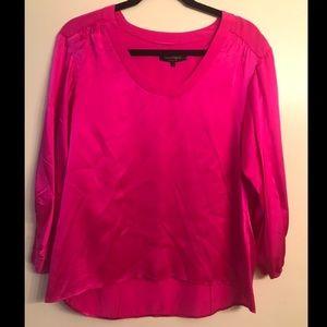 Nanette Lepore Fushia Blouse 100% Silk size Small